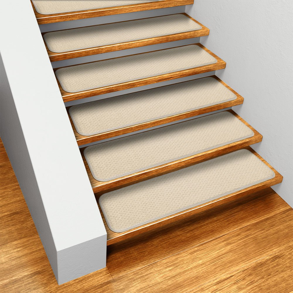 Amazoncom Set of 15 Skidresistant Carpet Stair Treads Ivory
