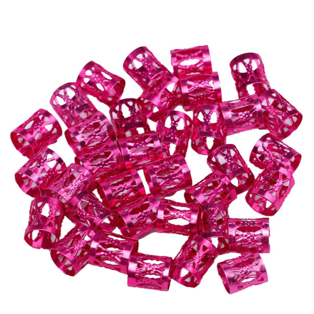 50pcs 8mm Dreadlock Bead Adjustable Hair Braid Rings Cuffs Clips Tubes Jewelry