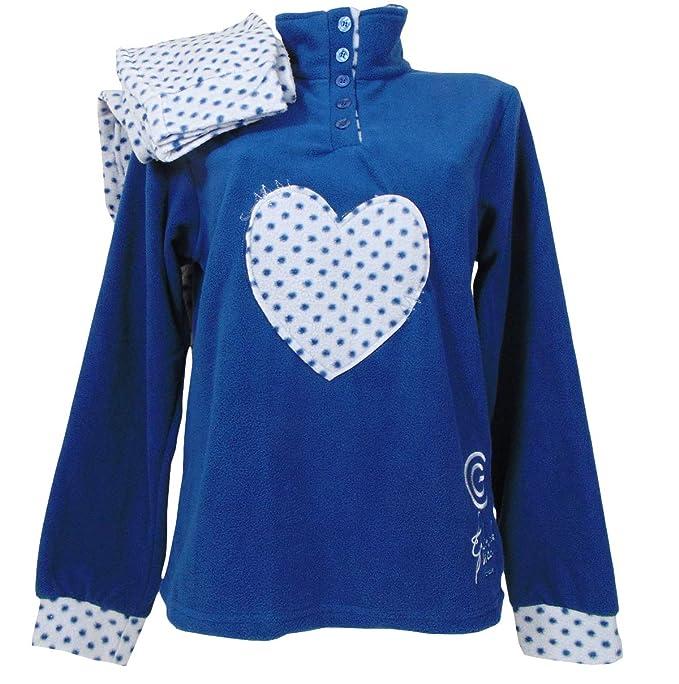 f891ead44470 dolcecasabiancheria Pigiama Donna Invernale in Caldo Pile Coral Gabriella  Nuit Blu  Amazon.it  Abbigliamento