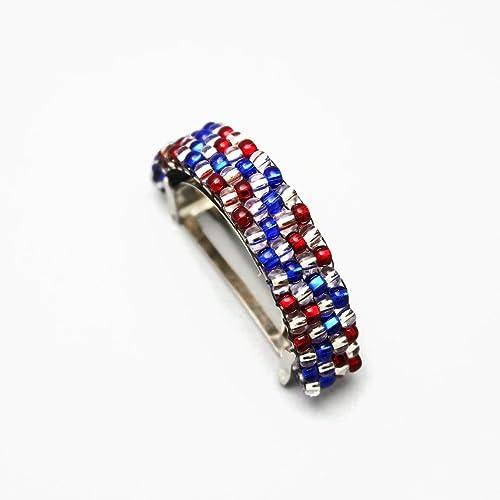 Amazon.com  Shiny Red Blue Silver Color Beaded Ponytail Holder  Handmade bbab1ff0a31