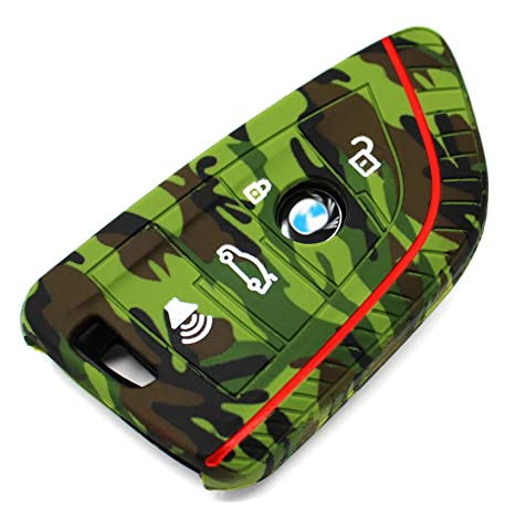 Silicone keycover BD for keys with 3 /& 4 buttons Keycover Etui protective cover Remote Entry Fob Case camouflage, 4 Button only Keyless Go