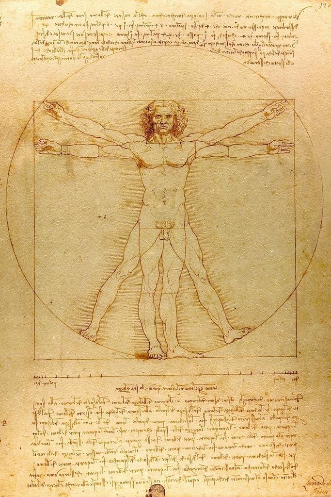 Leonardo Da Vinci Vitruvian Man Drawing Sketch Renaissance Art Cool Wall Decor Art Print Poster 24x36
