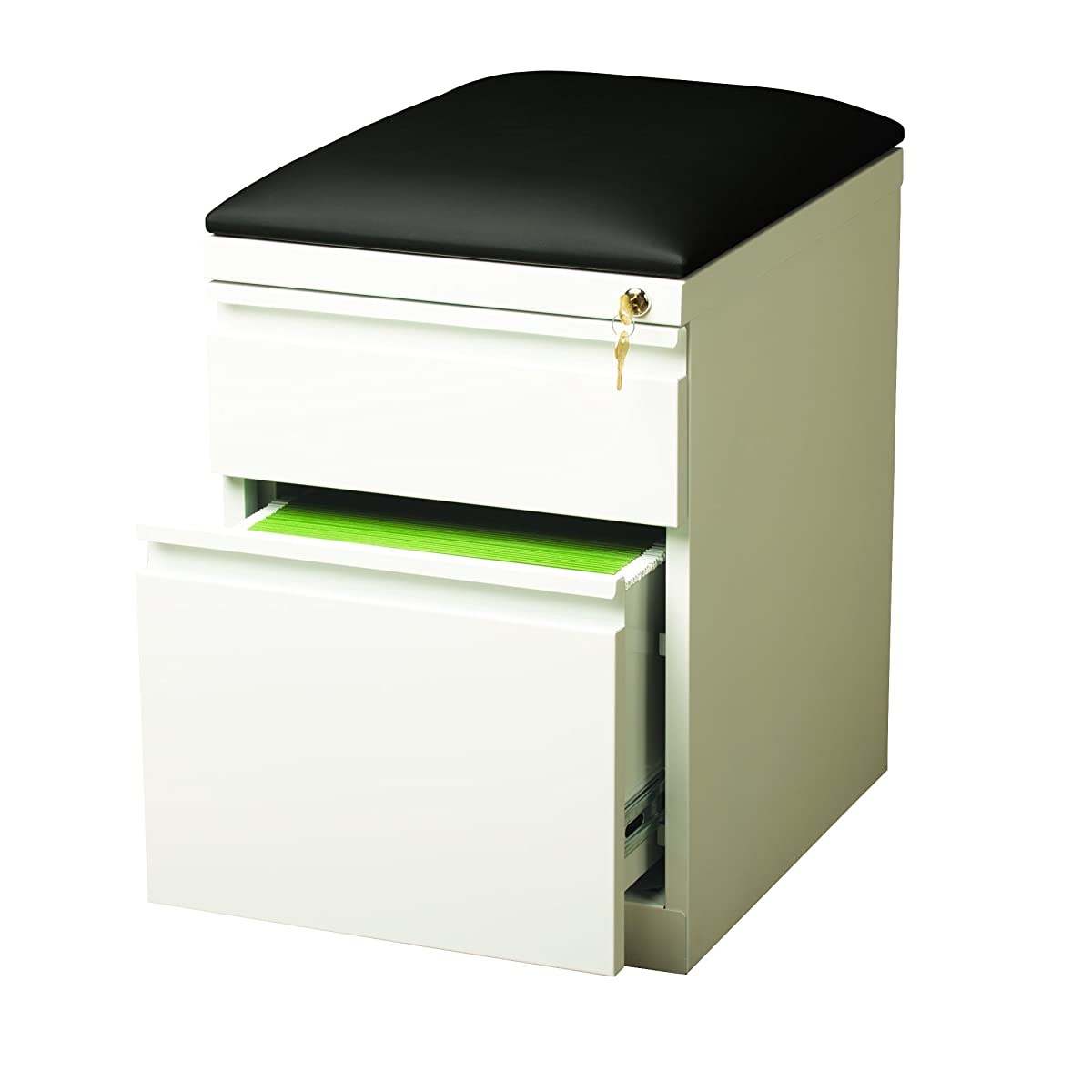"""Hirsh Industries 20"""" Deep Mobile Seat Box-File Cabinet in White"""