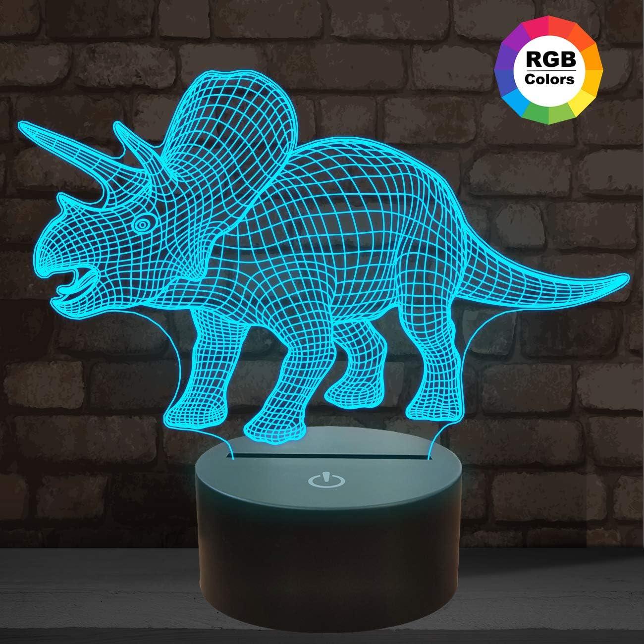 Dinosaur 3D Night Light, Triceratops 3D Illusion Lamp, 7 Colors Optical USB LED Touch Table Desk Nightlight, Christmas Gift for Kids Boys & Girls
