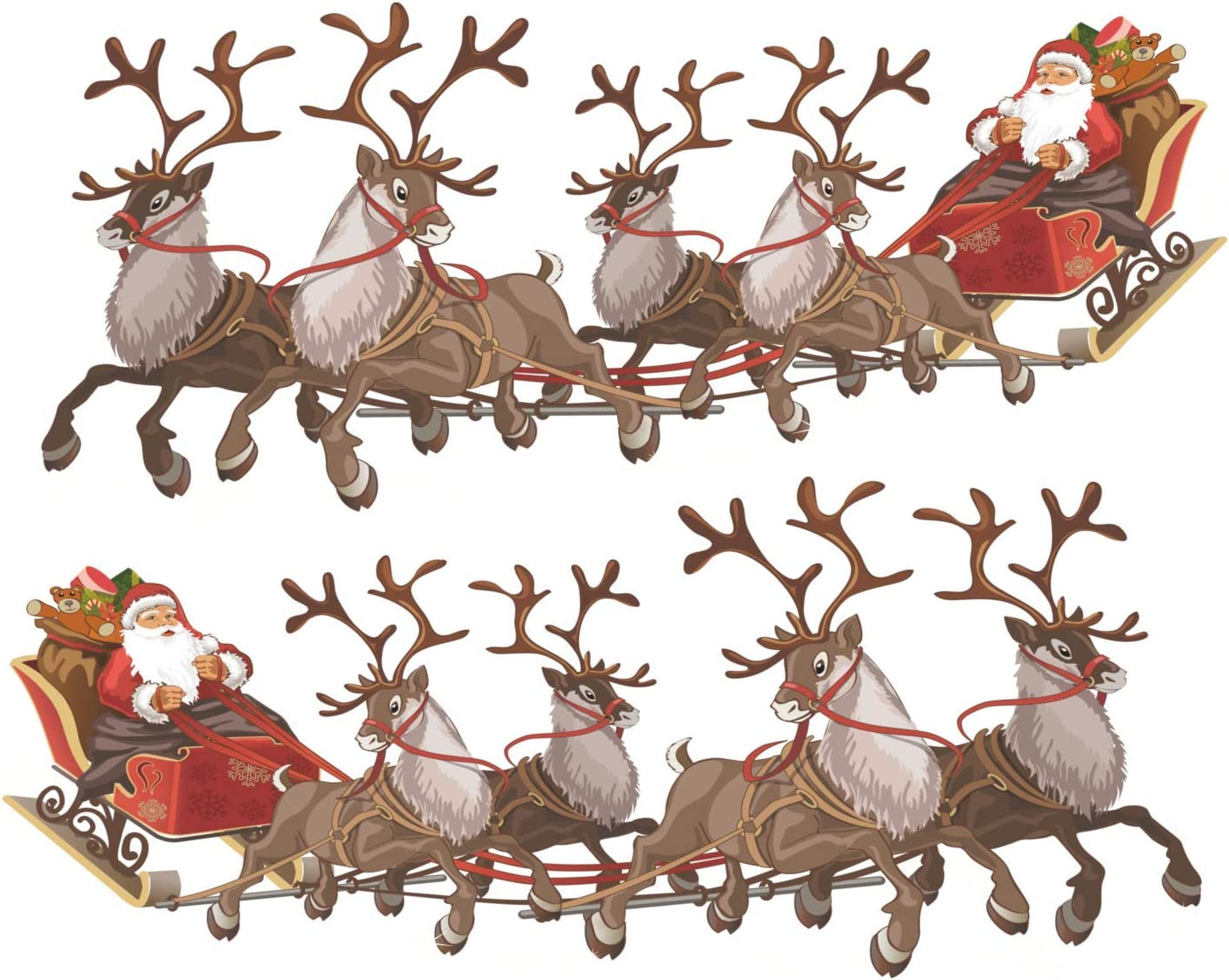 Christmas Window Clings – Two Santa Sleigh and Reindeers Christmas Window Decorations - Reusable Non-Adhesive Holiday Window and Door Décor - Small x 2