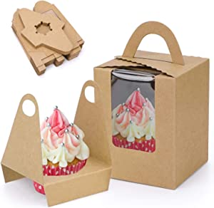 30 Pcs Kraft Cupcake Boxes,Food Grade Cupcake Gift Boxes with Windows, Portable Cupcake Containers for Bakery and Parties