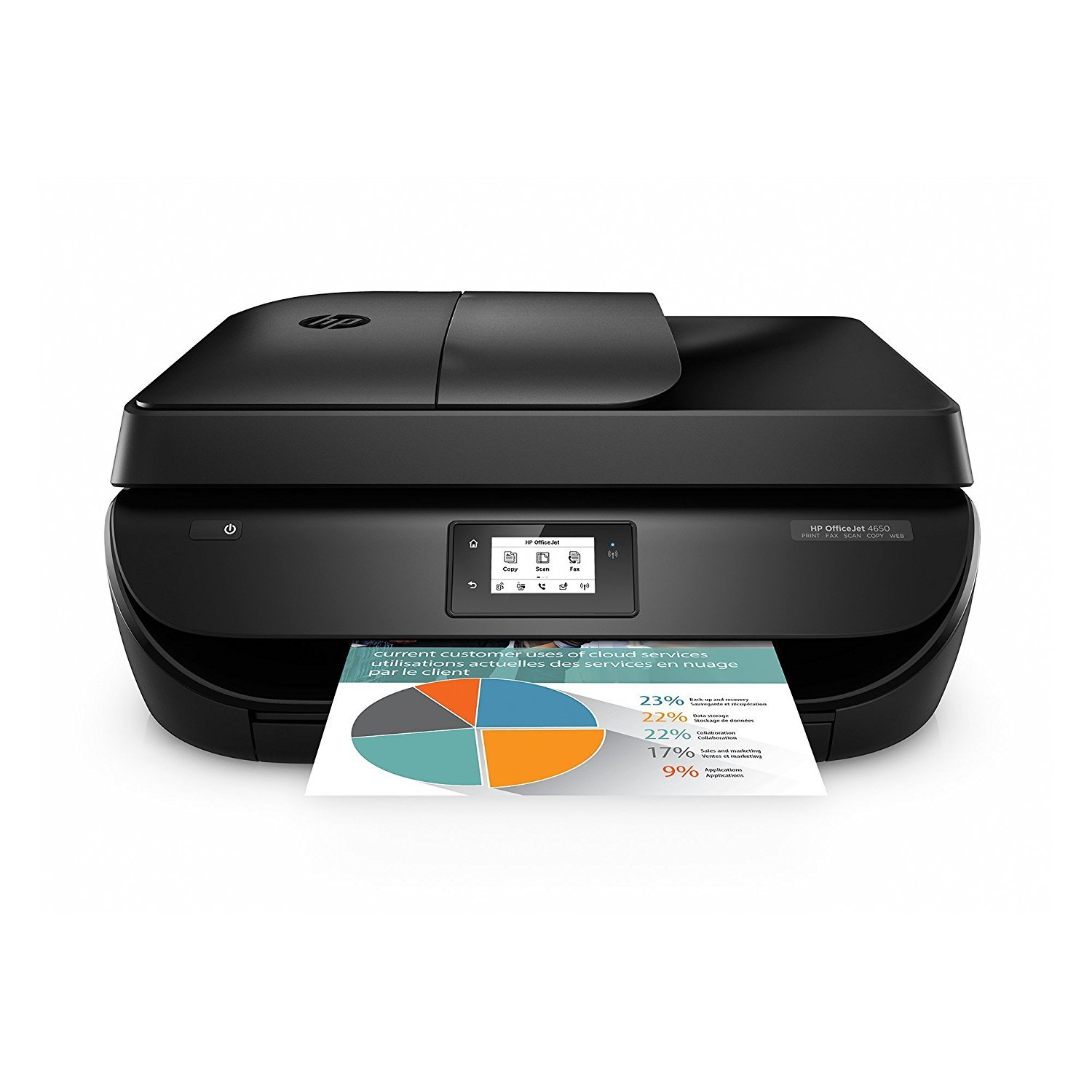 HP OfficeJet 4650 Wireless All-in-One Photo Printer, Copier and Scanner - Black (Certified Refurbished)