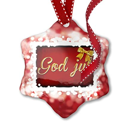 Neonblond Christmas Ornament Merry Christmas In Norwegian From Norway Red