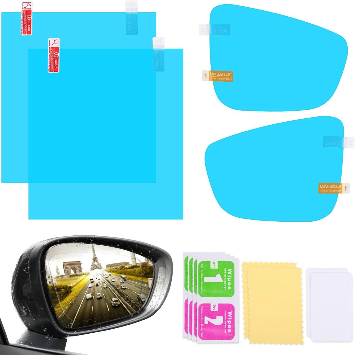4 Pieces Car Rearview Mirror Film Rainproof Waterproof Mirror Film Anti Fog HD Clear Nano Coating Car Film for Car Rear View Mirrors Side Windows