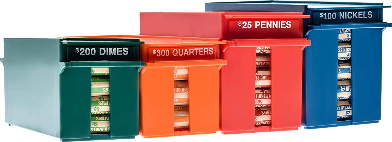 Nadex Rolled Coins Storage Boxes with Lockable Covers | High Capacity Wrapped Coins Color Coded Coin Organizing Trays for Quarters, Dimes, Nickels, and Pennies
