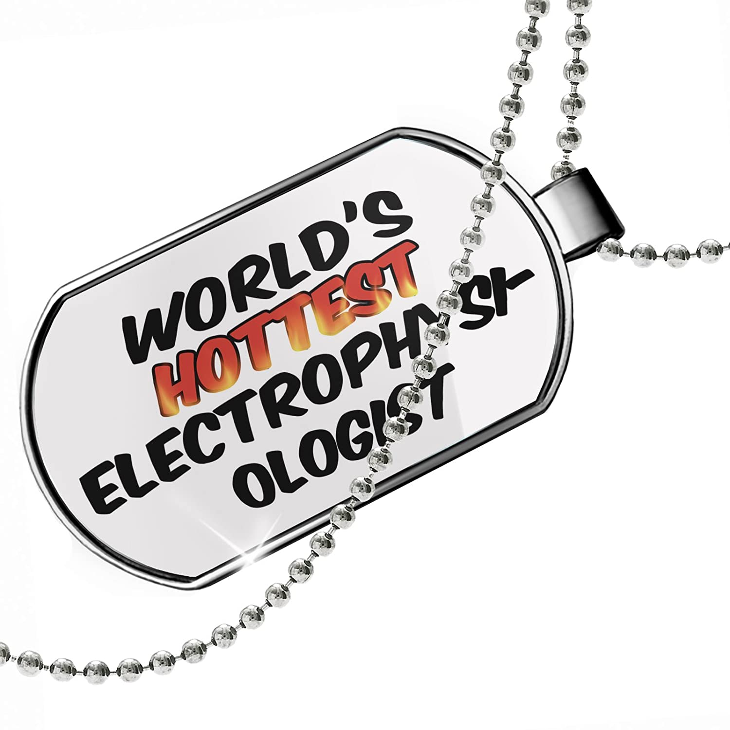 NEONBLOND Personalized Name Engraved Worlds Hottest Electrophysiologist Dogtag Necklace