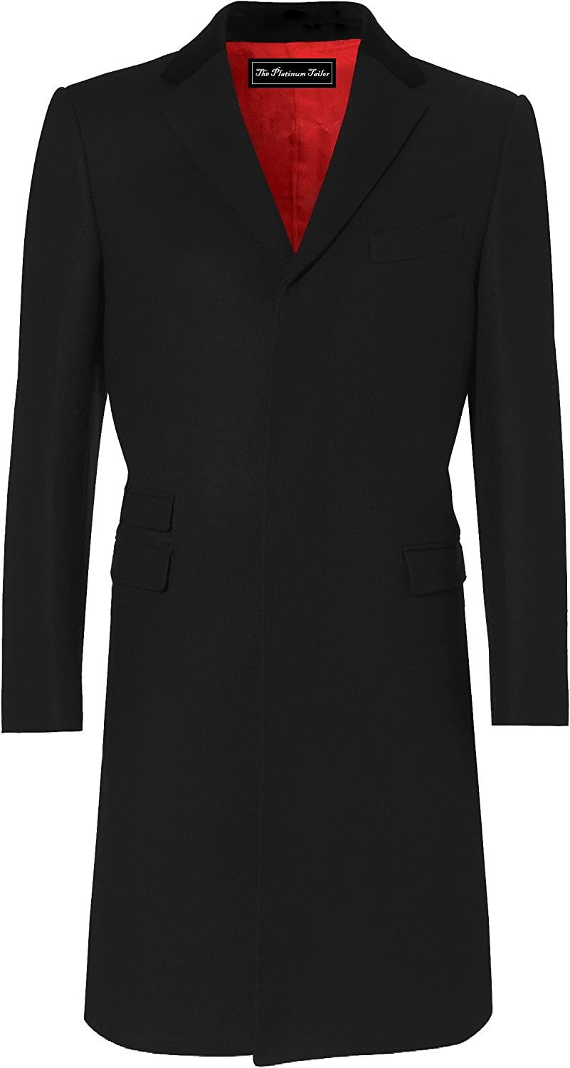 Vintage Coats & Jackets | Retro Coats and Jackets Mens Black Overcoat Wool & Cashmere Covert Warm Winter Mod Cromby Coat Velvet Collar & Red Satin Lining £129.99 AT vintagedancer.com