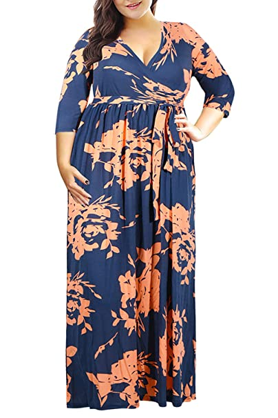 Nemidor Women\'s 3/4 Sleeve Floral Print Plus Size Casual Party Maxi Dress