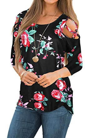 c909c7ba57c CEASIKERY Womens Floral Blouse Loose Strappy Cold Shoulder Tops Casual T  Shirts (Small, 3