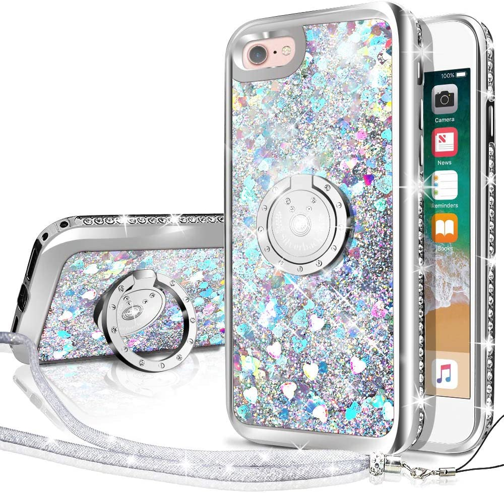 Silverback iPhone 6S Case, iPhone 6 Case, Moving Liquid Holographic Sparkle Glitter Case with Kickstand, Bling Diamond Bumper with Ring Protective Apple iPhone 6/6S Case for Girls Women -Silver