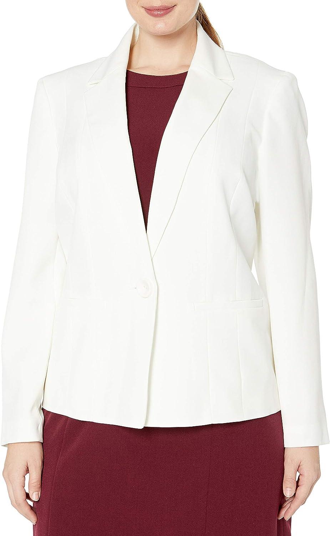 Kasper Womens Plus-Size Two-Button Crepe Suit Jacket