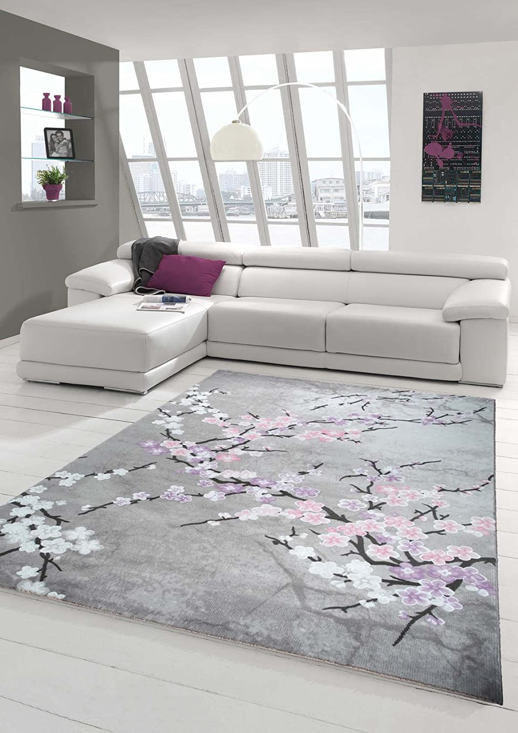 Designer Rug Contemporary Rug Wool Carpet Living Room Carpet Wool Rug With  Floral Pattern Pink Grey Cream Purple Size 80x150 Cm: Amazon.co.uk: Kitchen  U0026 ...