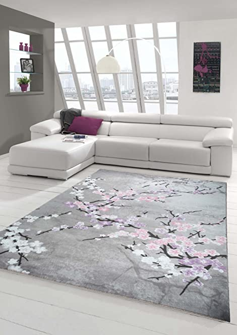 designer rug rug wool carpet living room carpet wool rug with floral pattern pink grey