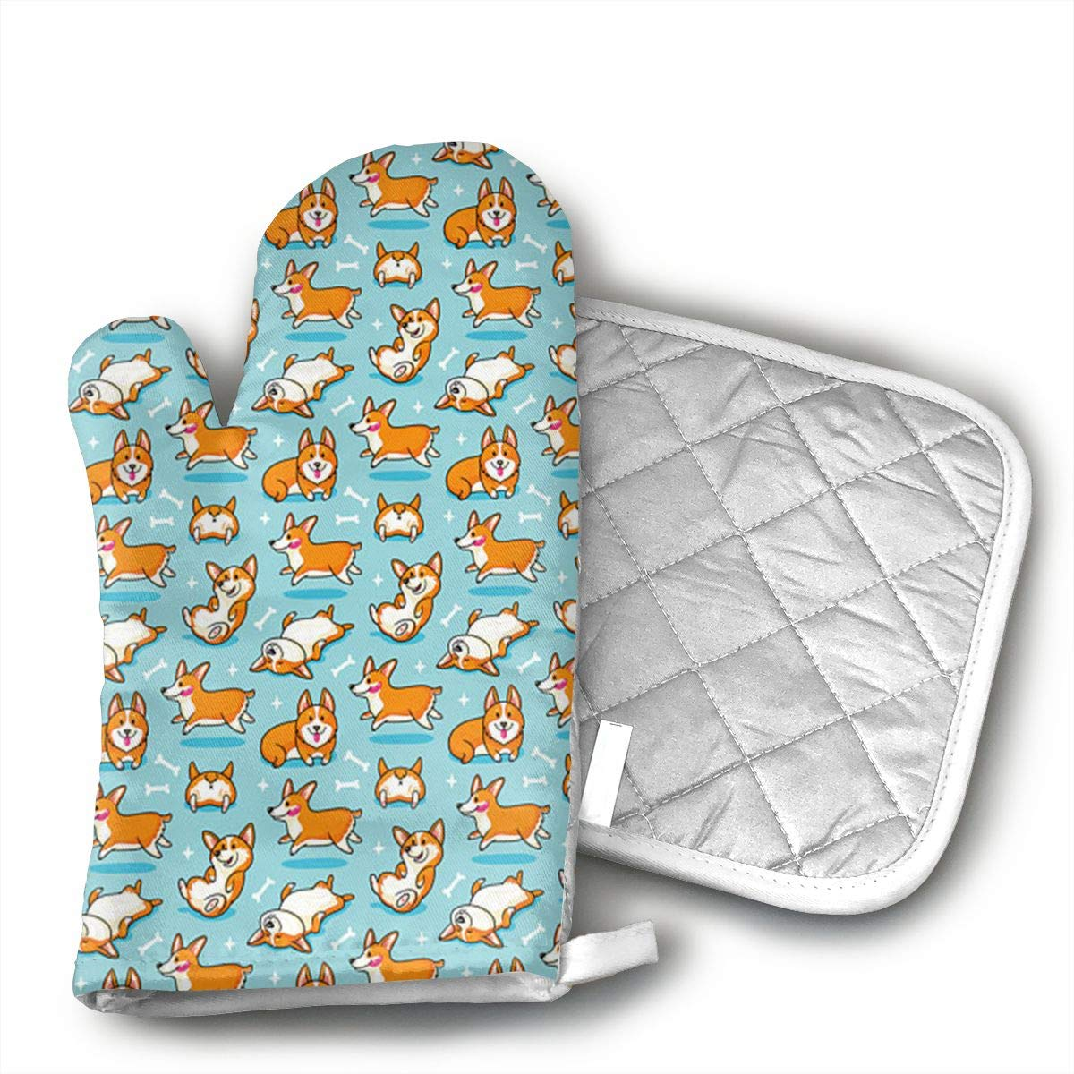 Cute Corgi Oven Mitts and Pot Holders Set with Polyester Cotton Non-Slip Grip, Heat Resistant, Oven Gloves for BBQ Cooking Baking, Grilling