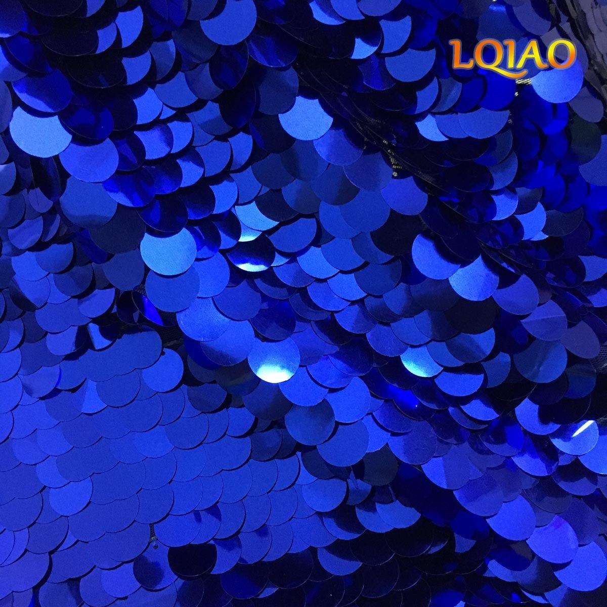 lqiao 3ヤードLarge Sequin Fabric by the yard-royalブルーフリップアップメッシュレース刺繍ウェディングクリスマス/ハロウィンイベントのデコレーションキラキラスパンコールファブリック   B075JGD1SK