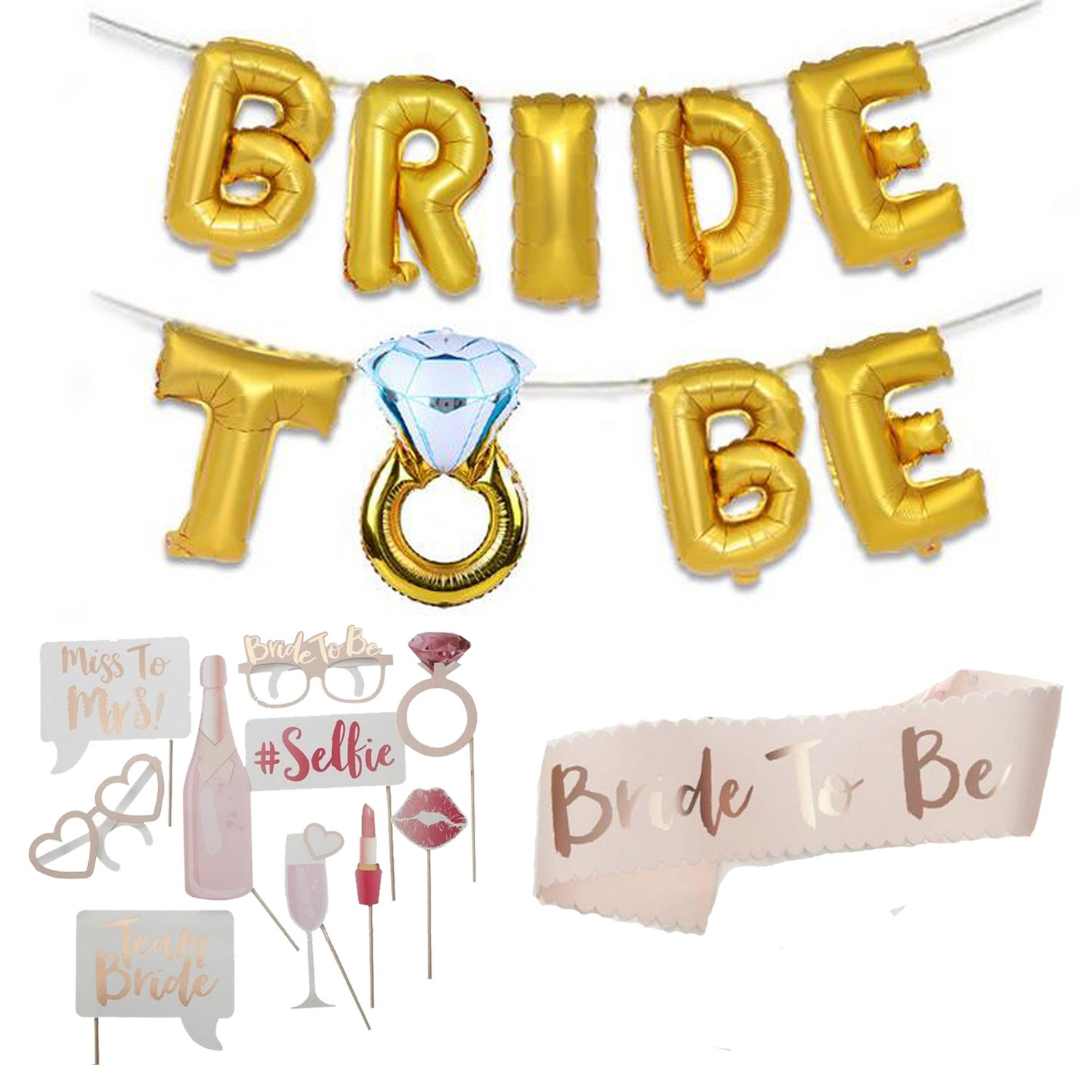 64ca81221f70f Bridal Shower Decorations Kit - Bride to Be Sash, 16 inch Foil ...