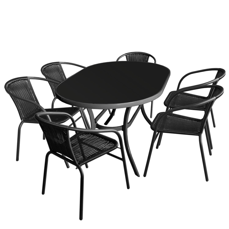 7tlg Gartengarnitur Glastisch Oval Gartentisch Mit Schwarzer