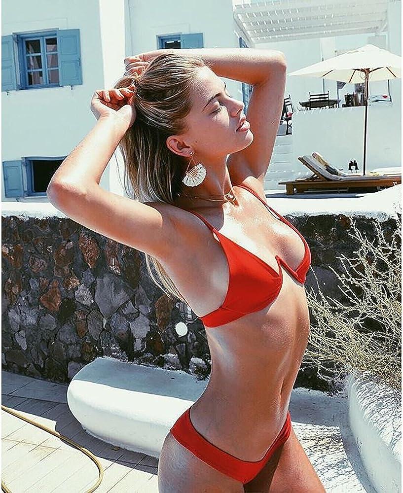 Rehao Femme Maillot de Bain Deux Pi/èces Bikini Push Up Br/ésilien Bikini Triangle Swimwear