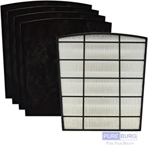 PUREBURG Replacement 1 x HEPA Filter and 4 x Carbon Pre-Filters Compatible with LivePure LP-HF550 LP-PF150 Fits LivePure LP550TH Bali Multi-Room True HEPA Console Air Purifiers
