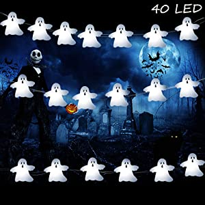 Lauva Halloween Decoration Lights, 10ft 40 LED Hanging White Ghost Halloween Decor Lights Battery Operated Spooky Horrific Themed Lights with Remote & Timer for Indoor Outdoor Cosplay Party Home