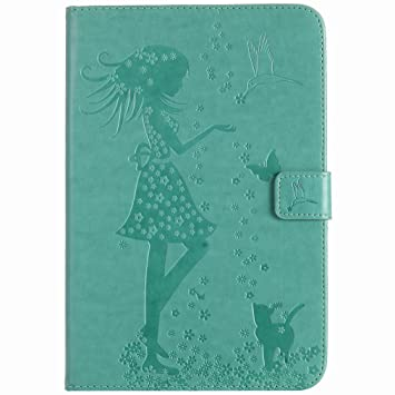 Yiizy Apple iPad Mini 4 Carcasa Funda, [Tarjeta crédito Ranuras] Billetera Bolsillos & PU Cuero Bolsa Magnética Muñeca Protector Tapa Paint Eye (Verde ...