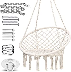 Ohuhu Hammock Chair with Hanging Installation Hardware Kit, Macrame Indoor Hammock Swing Chair for Room (Cushion Not Included)