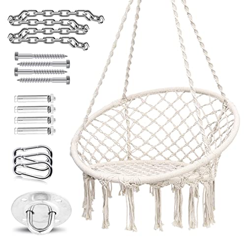 Ohuhu Hammock Chair Hanging Chair Swing with Heavy Duty Hanging Hardware Kit, Indoor Macrame Swing Chairs 100 Cotton Rope for Bedrooms, Idea Gifts for Xmas Christmas Cushion Not Included