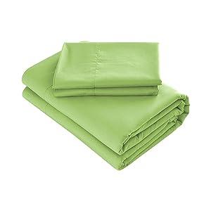 Prime Bedding Bed Sheets - 4 Piece Queen Sheets, Deep Pocket Fitted Sheet, Flat Sheet, Pillow Cases - Queen Sheet Set, Lime Green