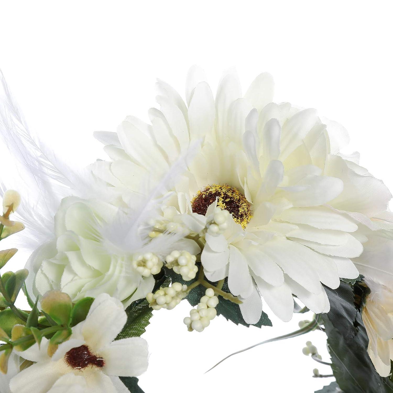 AWAYTR Fleur Couronne Bandeau Plume Coiffure Boh/émien Ajustable Couronne de fleurs avec Plumes Bandeau pour femmes filles Couronne florale cheveux Guirlande mariage
