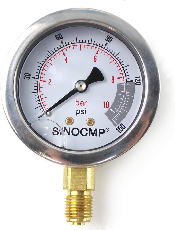 SINOCMP 25Mpa//0-250Bar//0-4000PSI Economical Multi Purpose Double Scale Stainless Steel Glycerin Filled Gauge Hydraulic Pressure Gauge