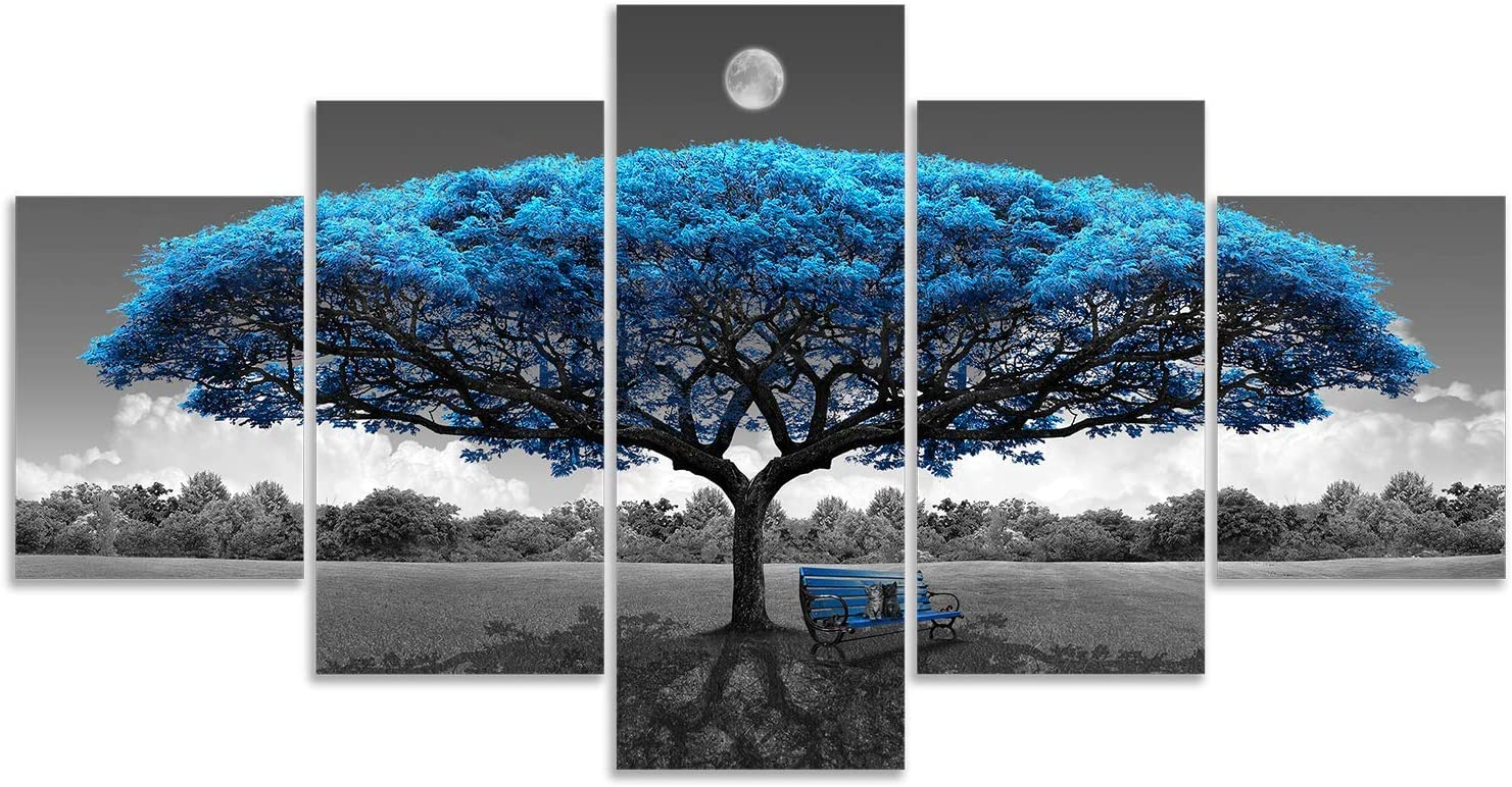 Canvas Wall Art Blue Tree Canvas Print Picture Black and White Landscape Painting Modern Artwork Canvas Art for Living Room Bedroom Decor Large 5 Pieces