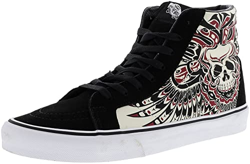 4cd743456f Vans Unisex Sk8-Hi Reissue (Stormy Bird) Black and True White Leather  Sneakers - 10 UK India (44.5 EU)  Buy Online at Low Prices in India -  Amazon.in