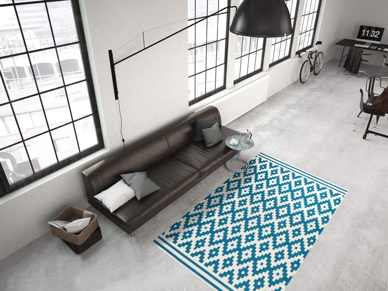 One Couture Teppich FLACHFLOR Arabesque SCANDIC Design MODERN TEPPICHE Elfenbein TÜRKIS, Größe 200cm x 290cm