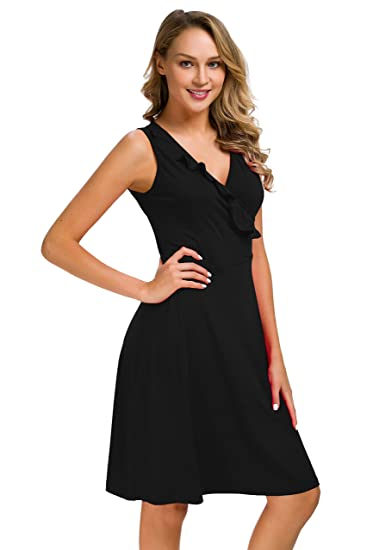 041e9c90397537 Women s Vintage Scoop Neck Midi Dress Sleeveless v-Neck Cocktail Party Tank  Dress (Small