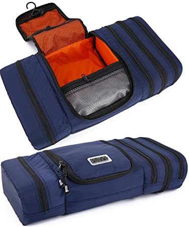 2fe0141655 Amazon.com  Pro Packing Cubes Travel Toiletry Bag - Packs Flat To Save  Space - Waterproof Hanging Toiletries Kit For Men and Women