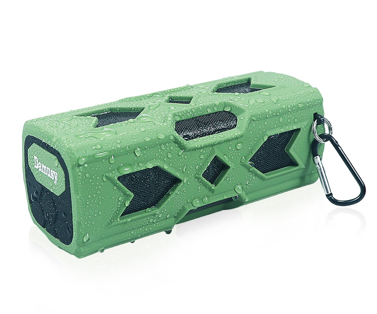 Damusy Portable Waterproof Bluetooth Speaker,NFC Stereo Wireless Speaker With 1800mAh Power Bank/Mic For Outdoor Pool Beach Shower Travel Bicycle Camping -12 Months Warranty (Green)