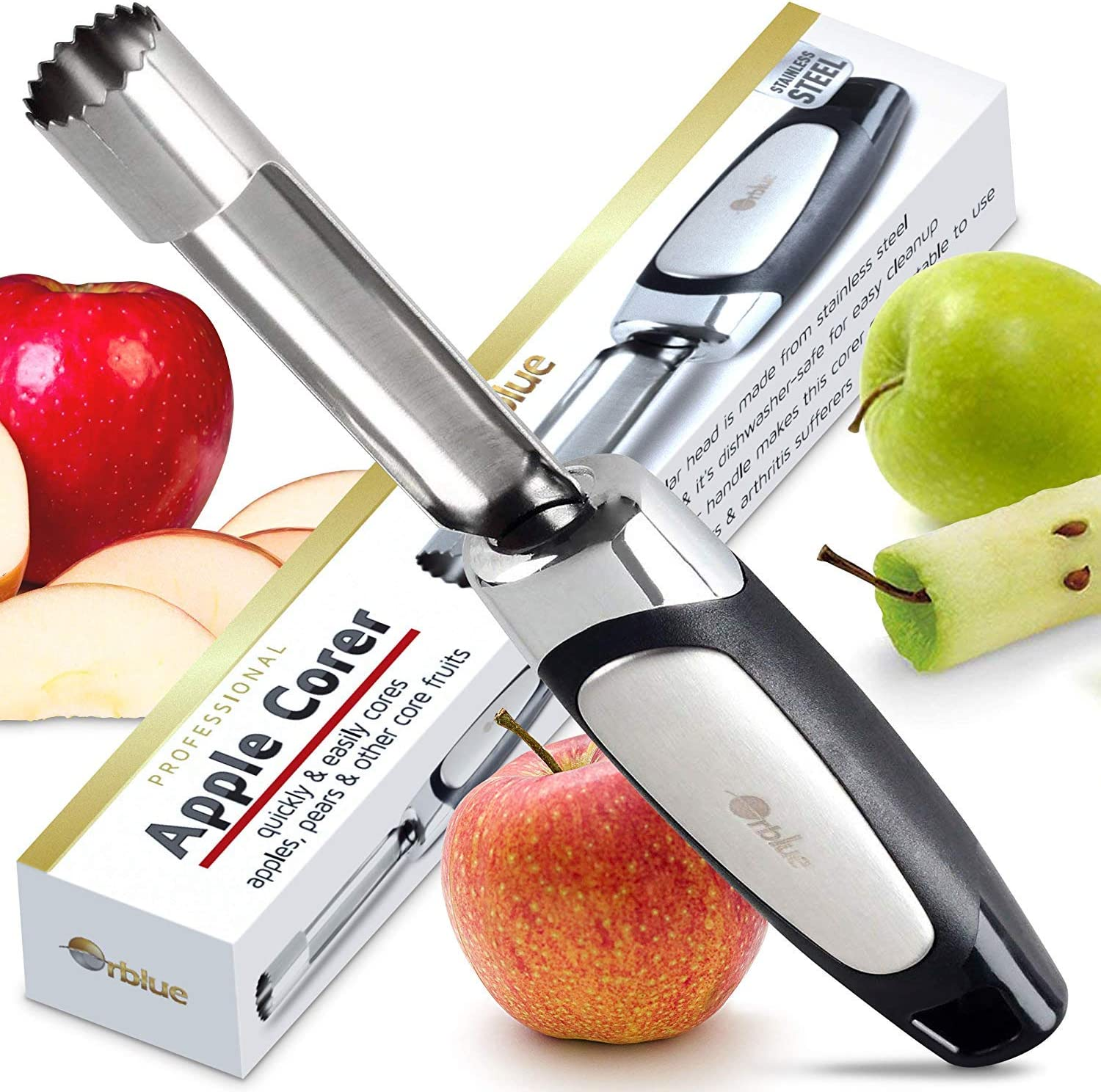 Orblue Apple Corer - Best Stainless Steel Fruit Core Remover Tool with Soft Rubber Handle