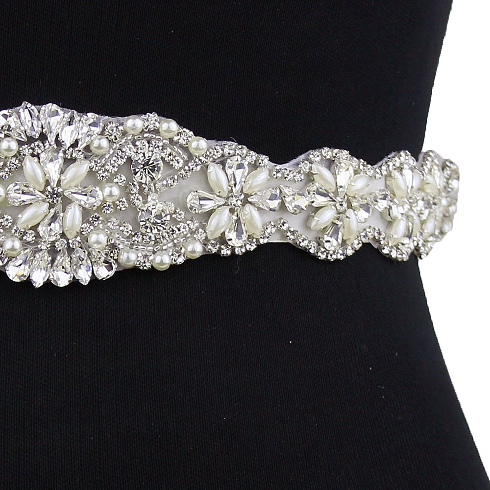 Bride Rhinestone Wedding Belt Handmade Crystal Bridal Gown (Black) by Fruit And Sun (Image #4)