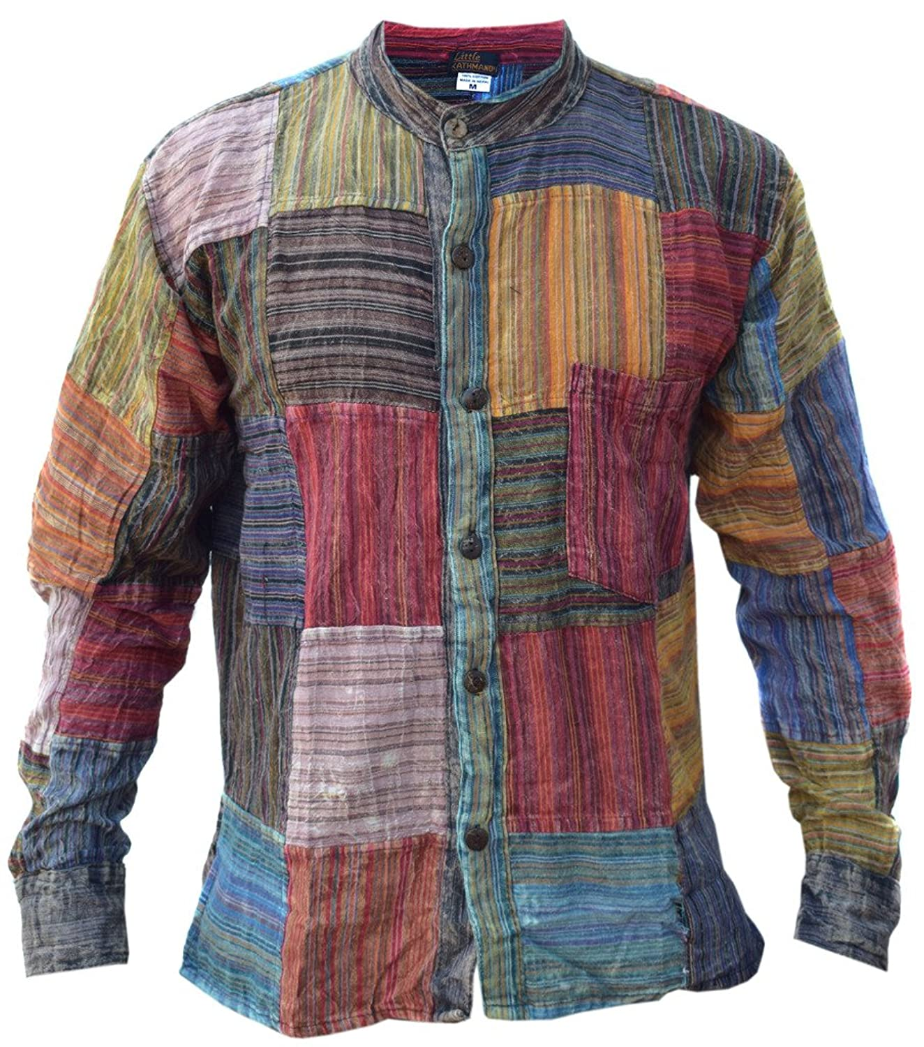 Little Kathmandu Men's Patchwork Striped Grandad Summer Festival Kurta Shirt