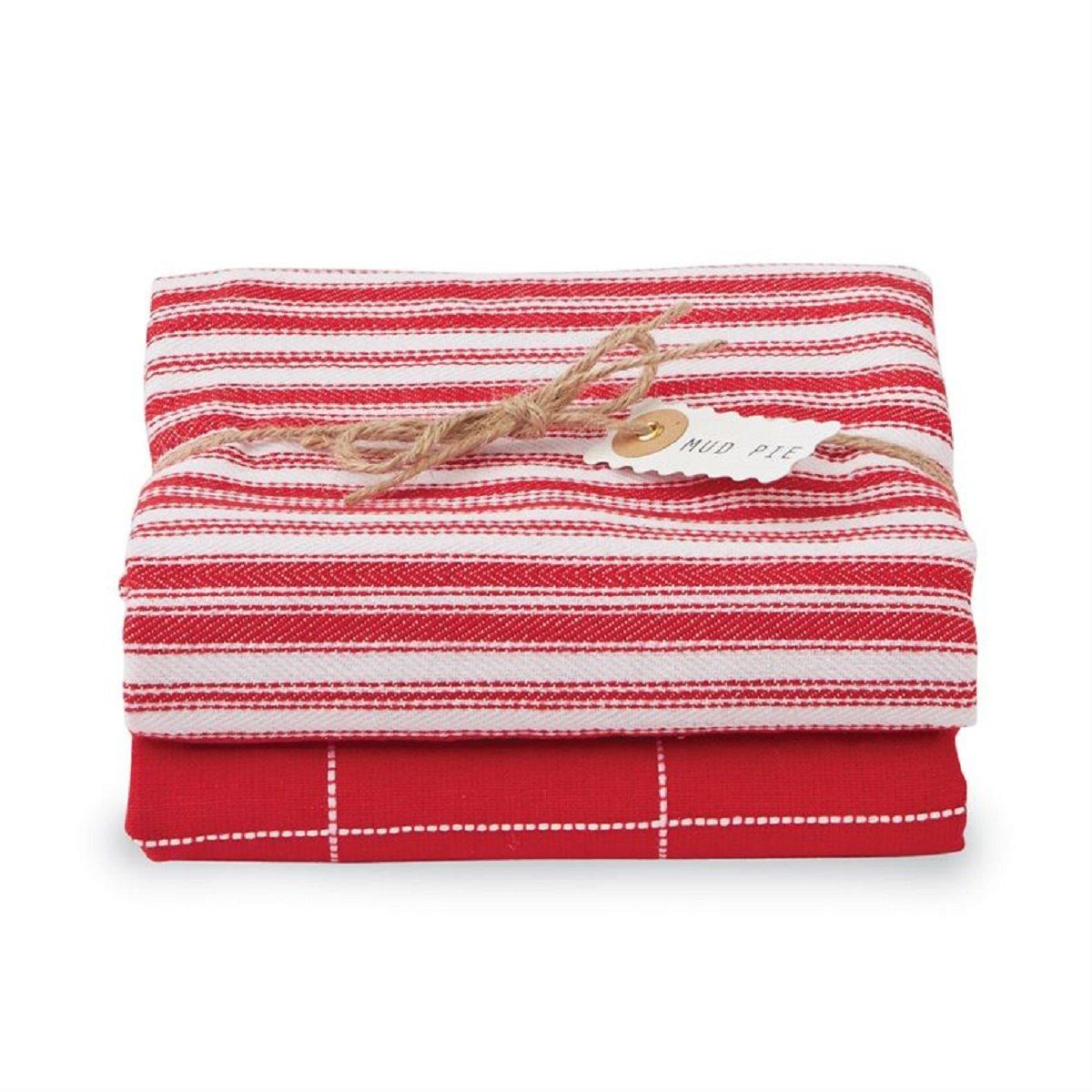 Mud Pie Linen Dish Towel Set (Red)
