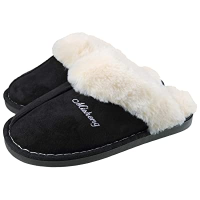 ChayChax Women's Slippers Warm Fluffy Plush Micro Suede Memory Foam House Slippers with Anti-Sikd Sole Indoor/Outdoor   Slippers