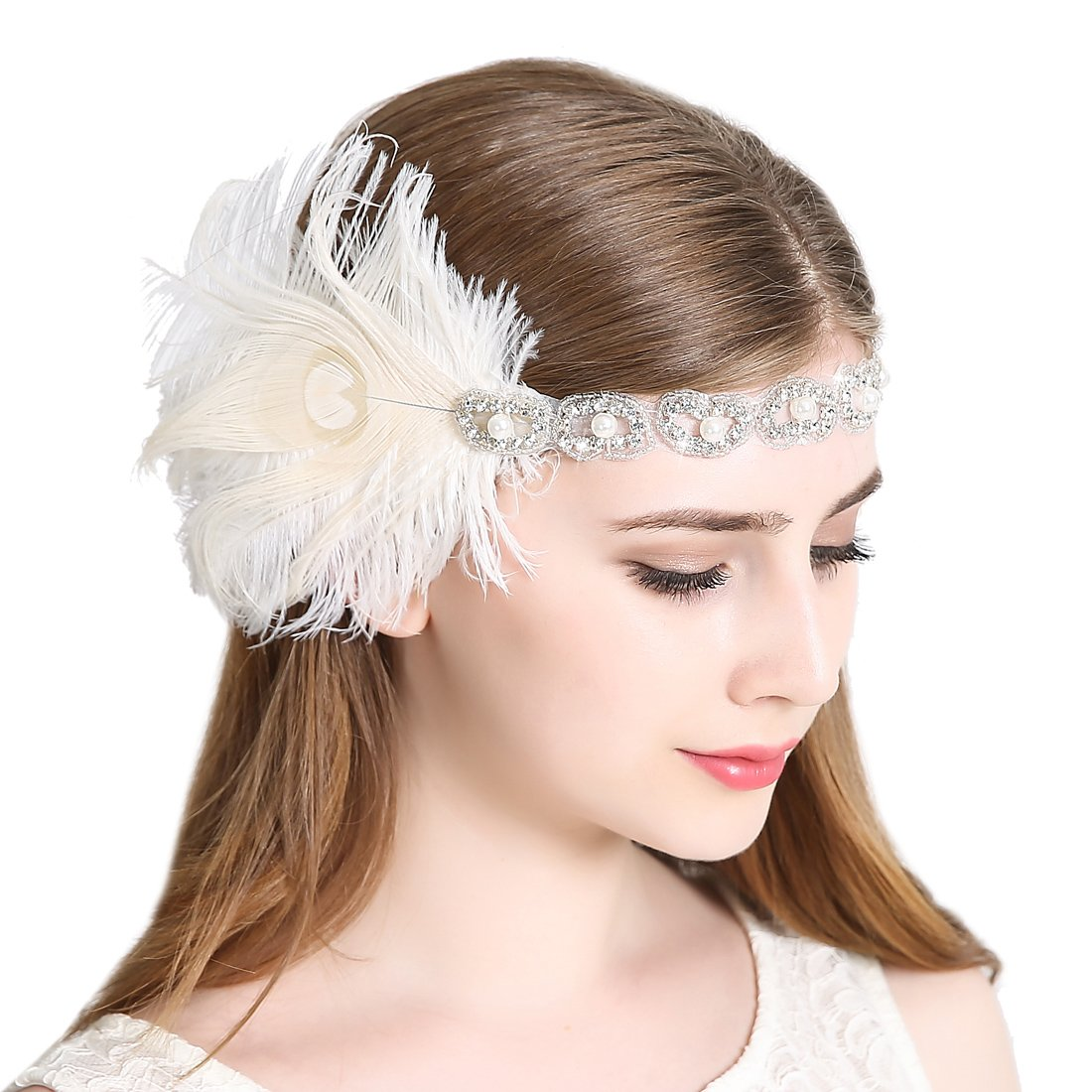 Women's Peacock 1920s Flapper Headband Art Deco Roaring 20s Gatsby Inspired Headpieces for Wedding Party