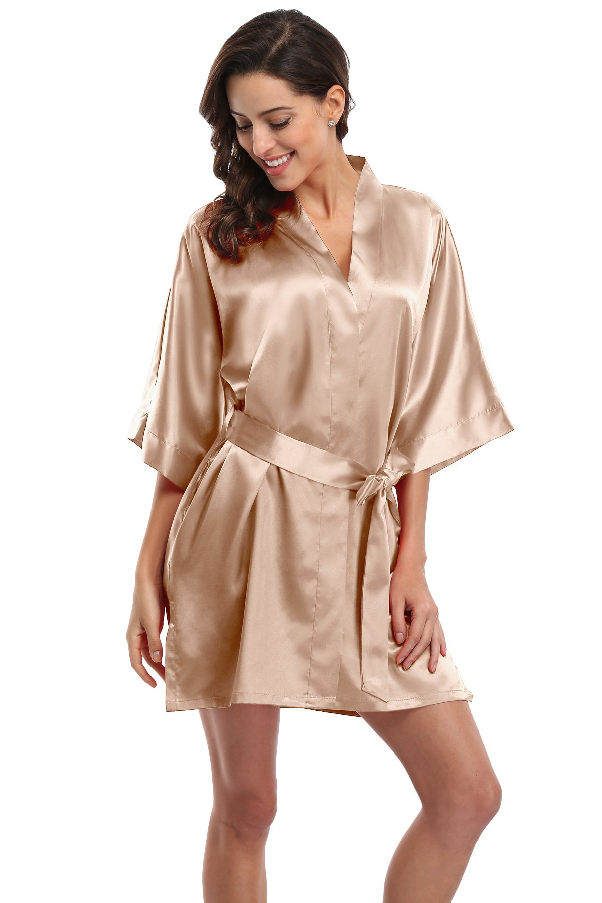 Details about  /Women/'s Satin Short Kimono Robe Solid Color Bridesmaid Robes Silky Bathrobe for