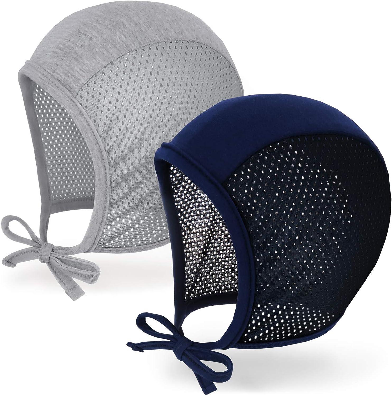 JELLYTREE Baby Hat Bonnet Soft Mesh Infant Toddler Beanies Pilot Caps Boys Girls Hearing Aid Hats, 3m 6m 12m