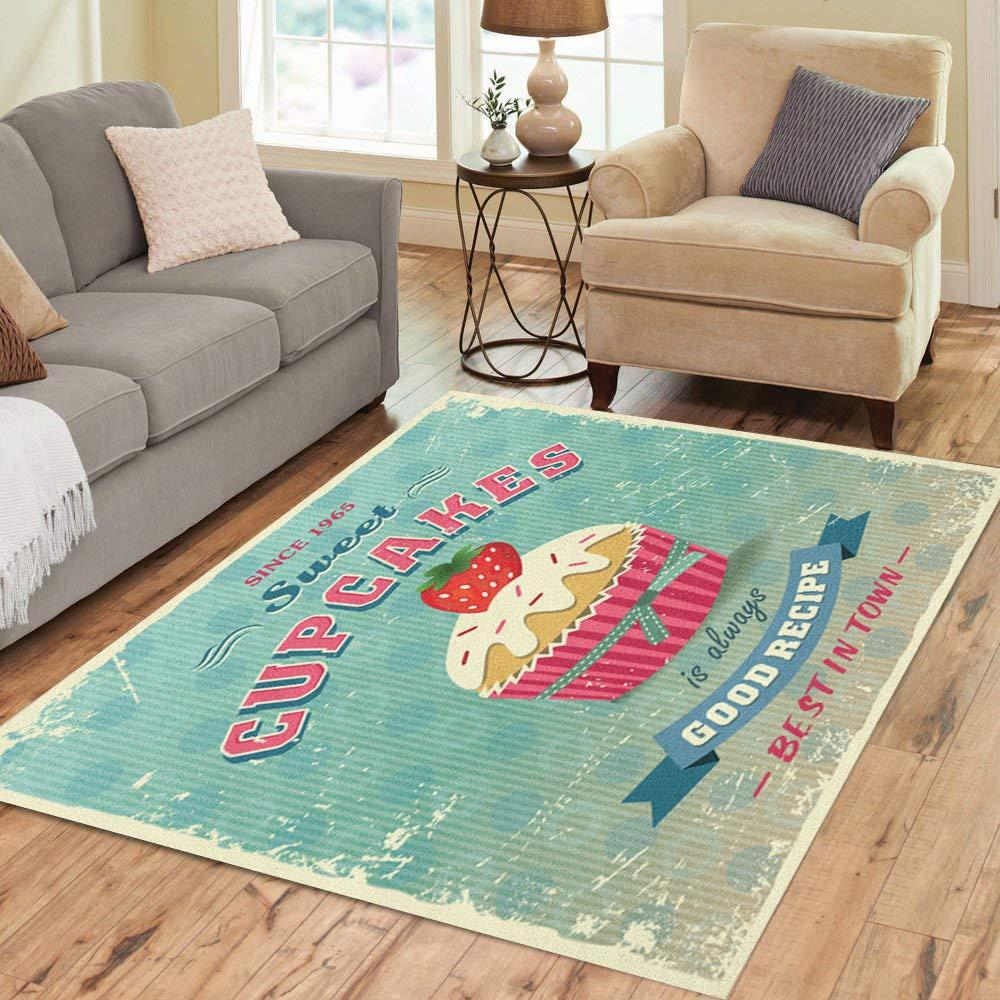 Pinbeam Area Rug Cake of Vintage Cupcakes Sign Food Recipe Retro Home Decor Floor Rug 3' x 5' Carpet by Pinbeam